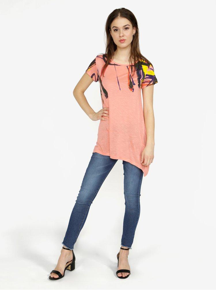 Růžové asymetrické tričko s krátkým rukávem Desigual Aristo