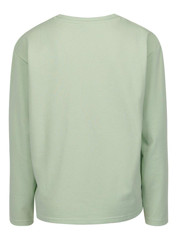 Světle zelená lehká mikina s potiskem ve stříbrné barvě Blendshe Hon