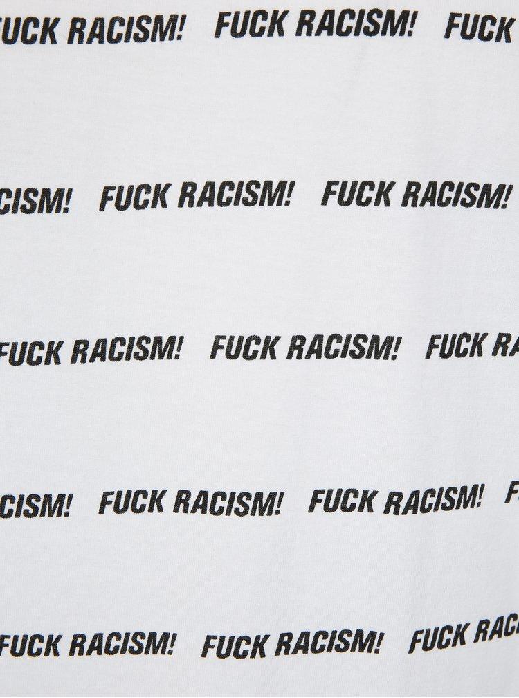 Bílé tričko s potiskem Dedicated Fuck Racism Stripes