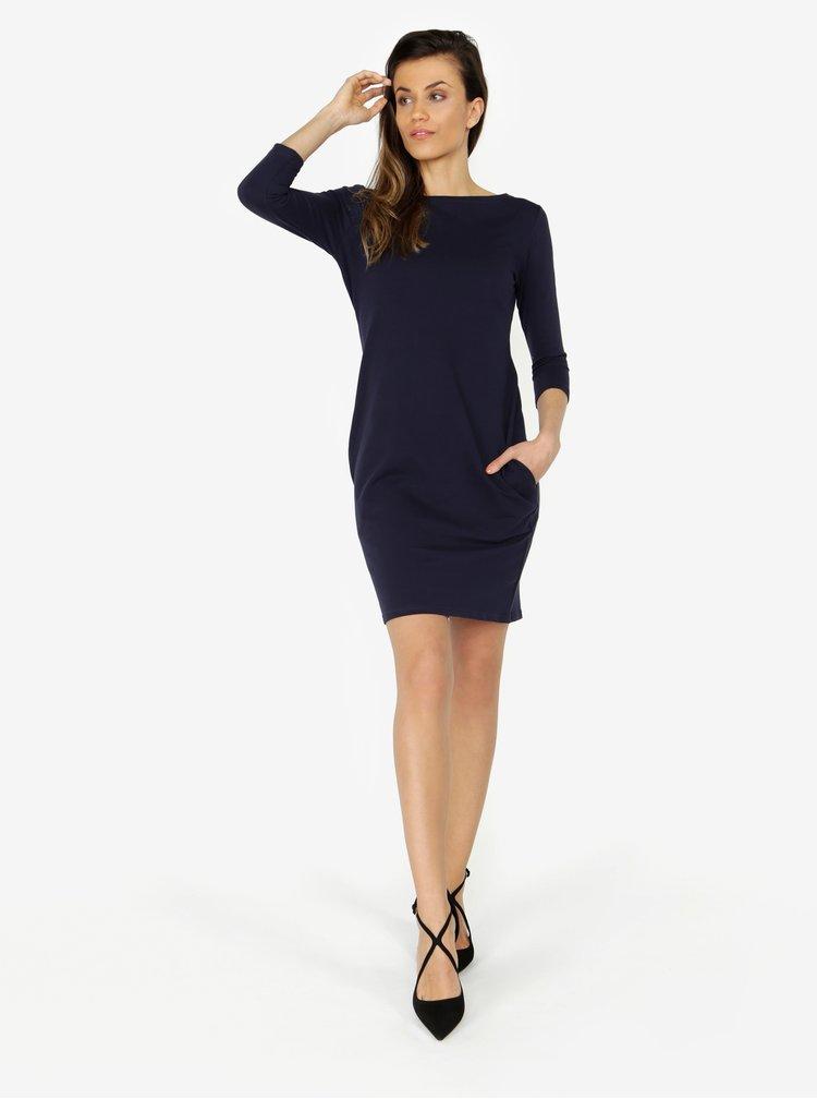 Tmavě modré basic šaty s 3/4 rukávem ZOOT