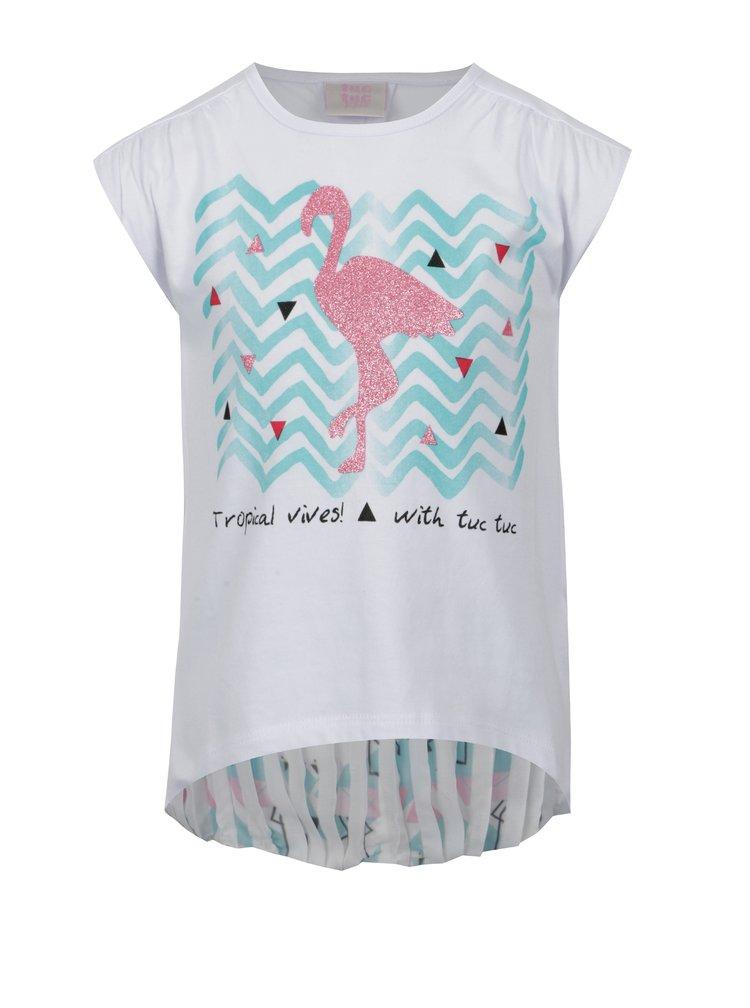 Bílé holčičí tričko s třpytivým potiskem tuc tuc Combined Camisole