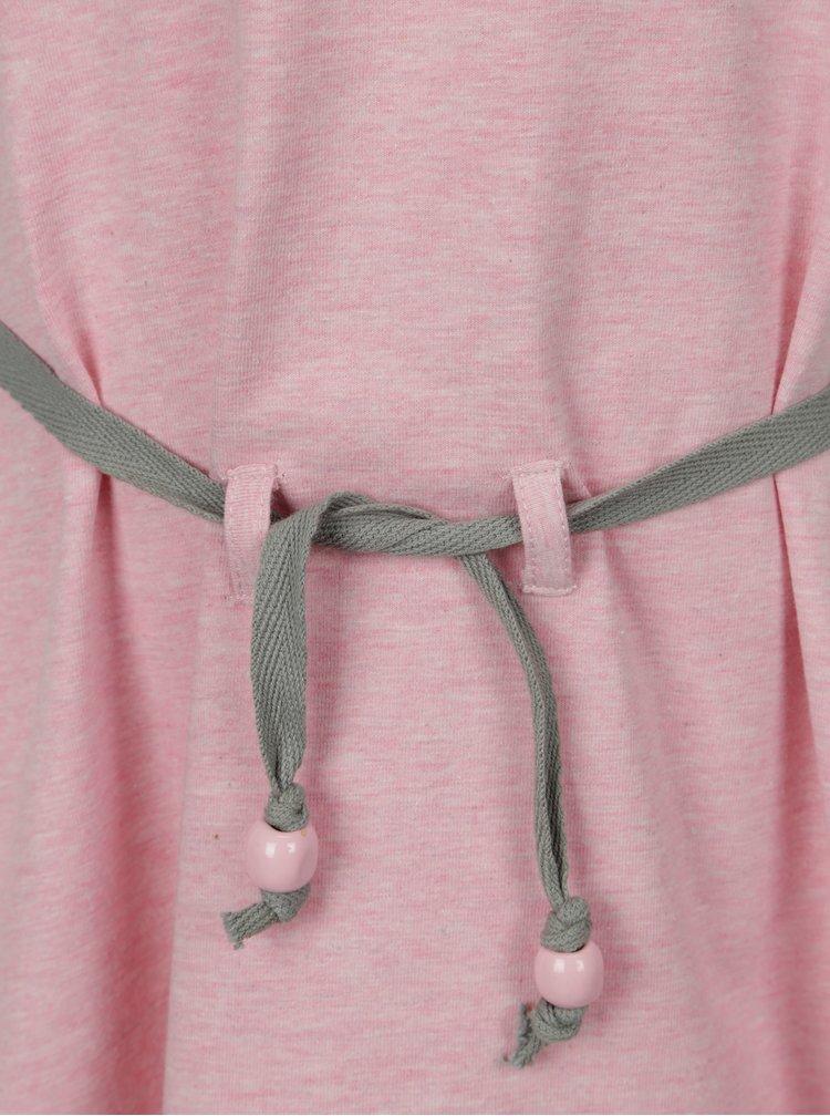 Světle růžové holčičí žíhané šaty s páskem tuc tuc Jersey