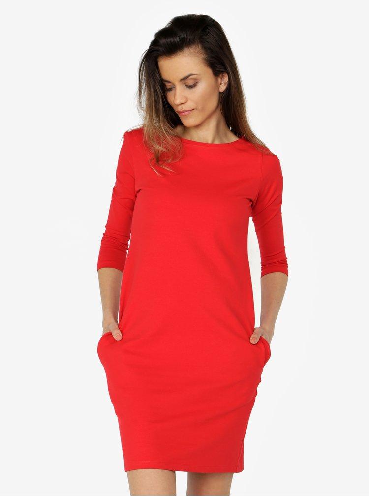 Červené basic šaty s 3/4 rukávem ZOOT
