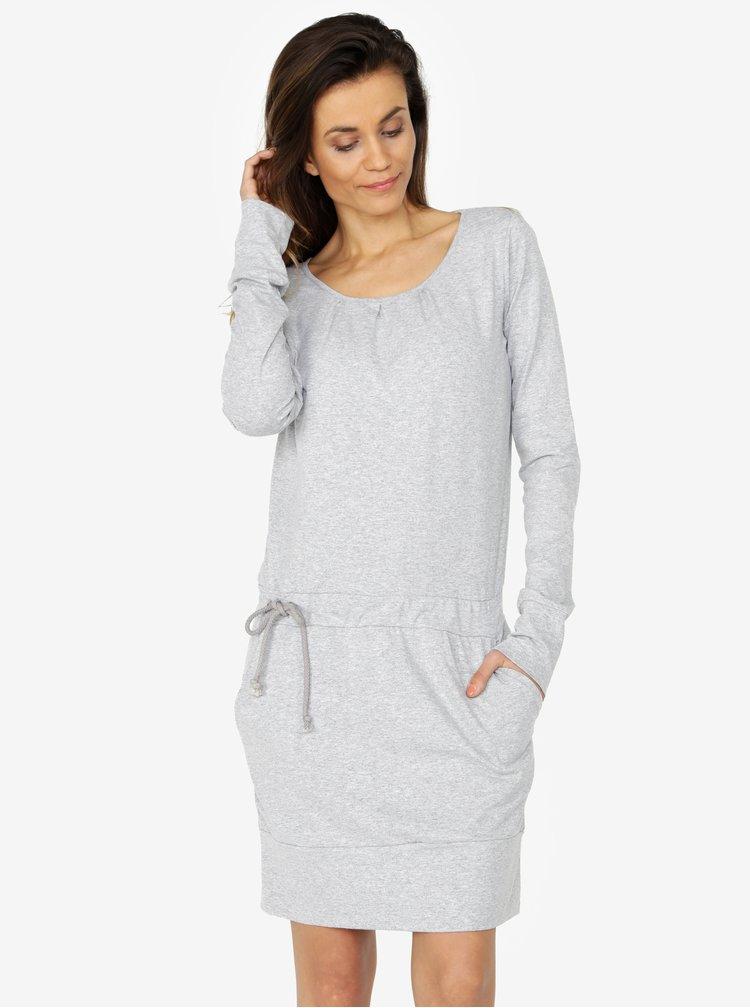 Svetlosivé melírované šaty s dlhým rukávom ZOOT
