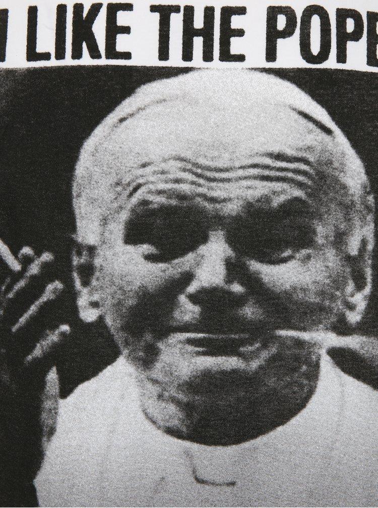 Tricou alb cu print fotografie si text funny Dedicated Dope Pope