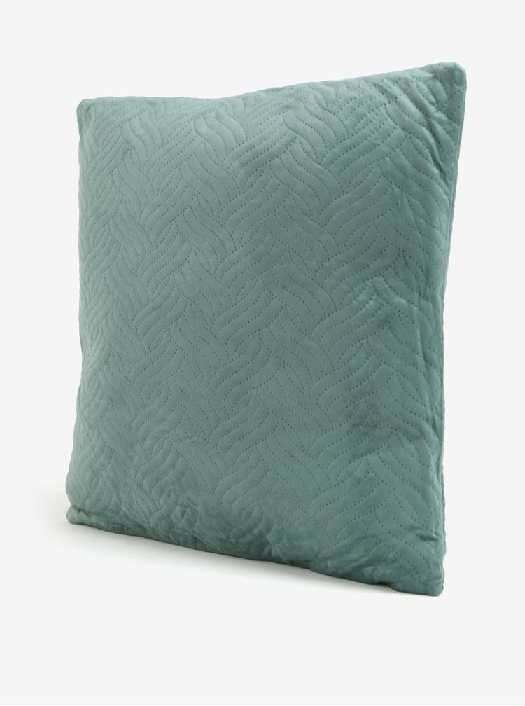 Modrozelený sametový polštář Kaemingk