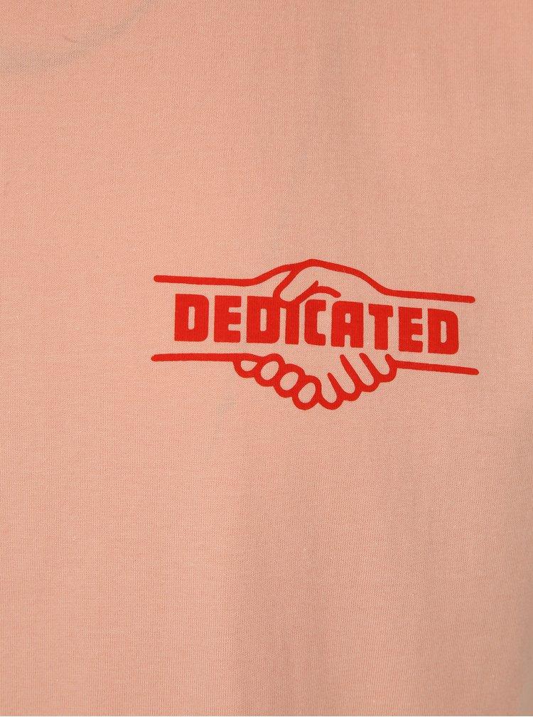 Růžové tričko s potiskem Dedicated Good Hands