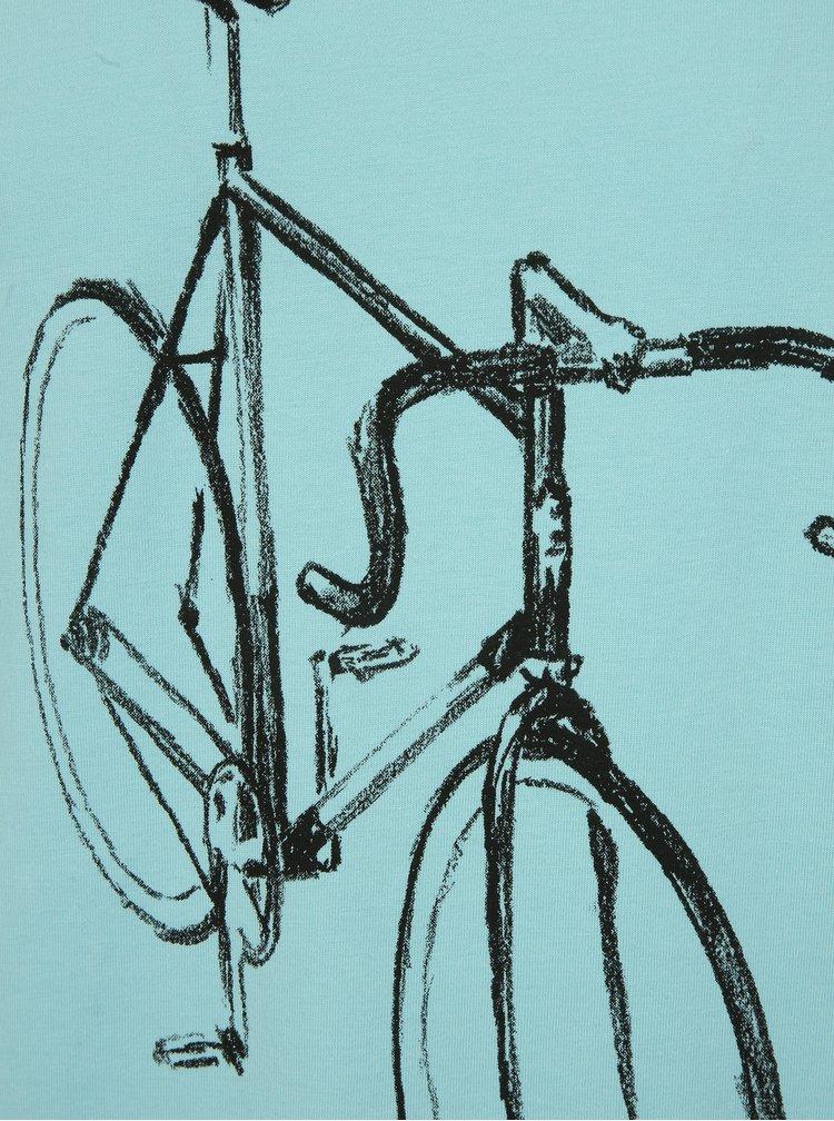 Světle modré tričko s potiskem Dedicated Drawn Bike