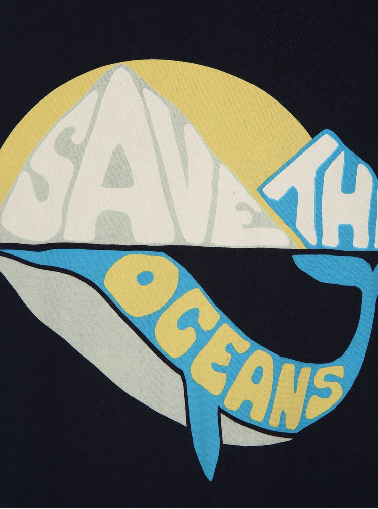 Tricou bleuarin cu mesaj Dedicated Save the ocean