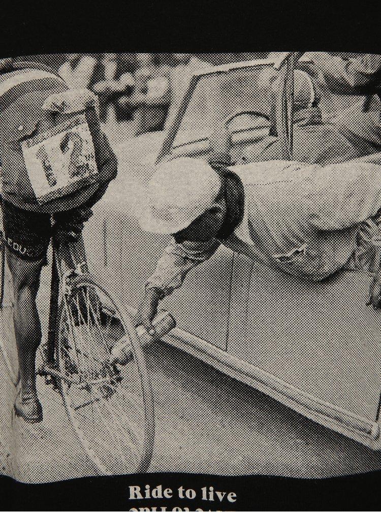 Tricou negru cu print fotografie cu ciclist Dedicated Ride to live