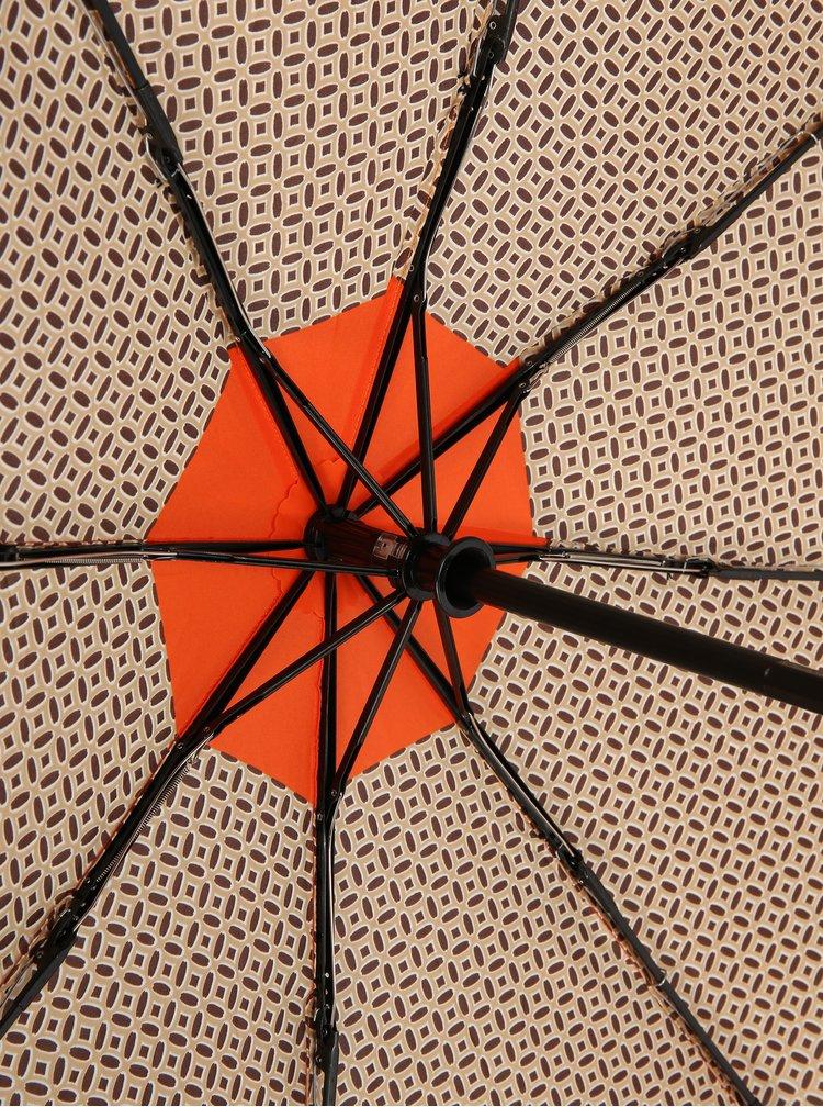 Oranžovo-béžový vzorovaný skladací vystreľovací dáždnik Doppler