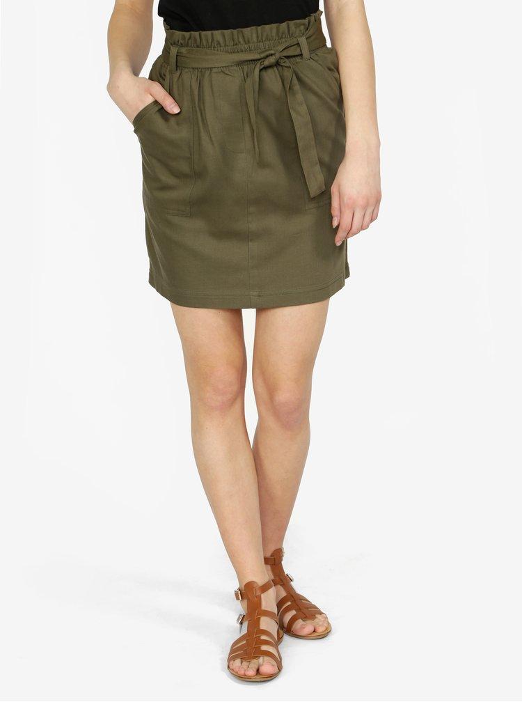 Khaki sukně s páskem ONLY Alexandra