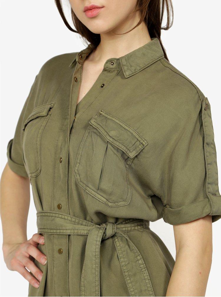 Khaki košilové šaty s páskem ONLY Justine