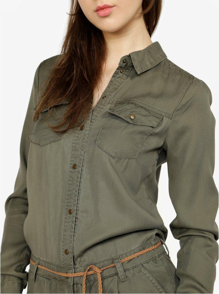 Khaki košilový overal s páskem ONLY Kira