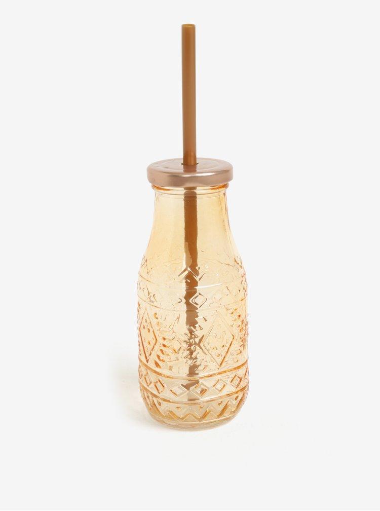 Skleněná láhev s brčkem v oranžové barvě Kaemingk