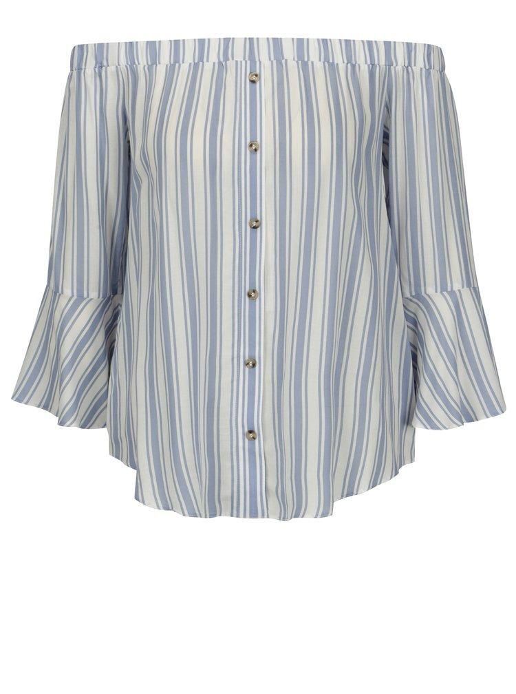 Bluza cu decolteu amplu si nasturi decorati albastru & crem -  Miss Selfridge