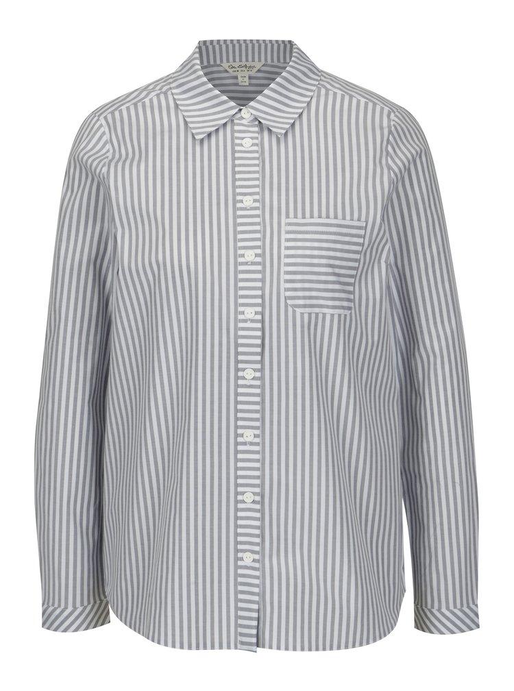 Krémovo-šedá pruhovaná košile Miss Selfridge