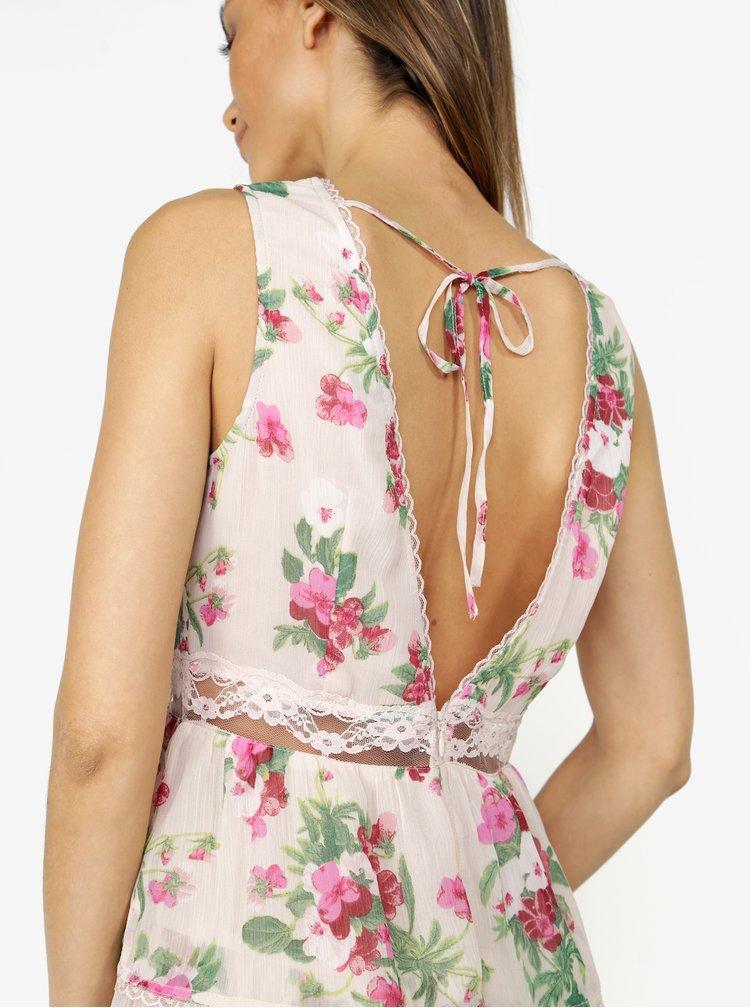 Růžové květované šaty s krajkou Miss Selfridge