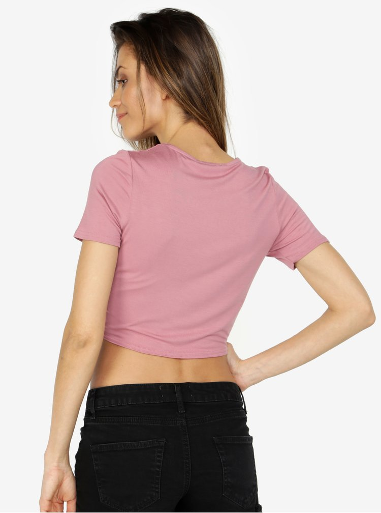Růžový crop top s uzlem Miss Selfridge