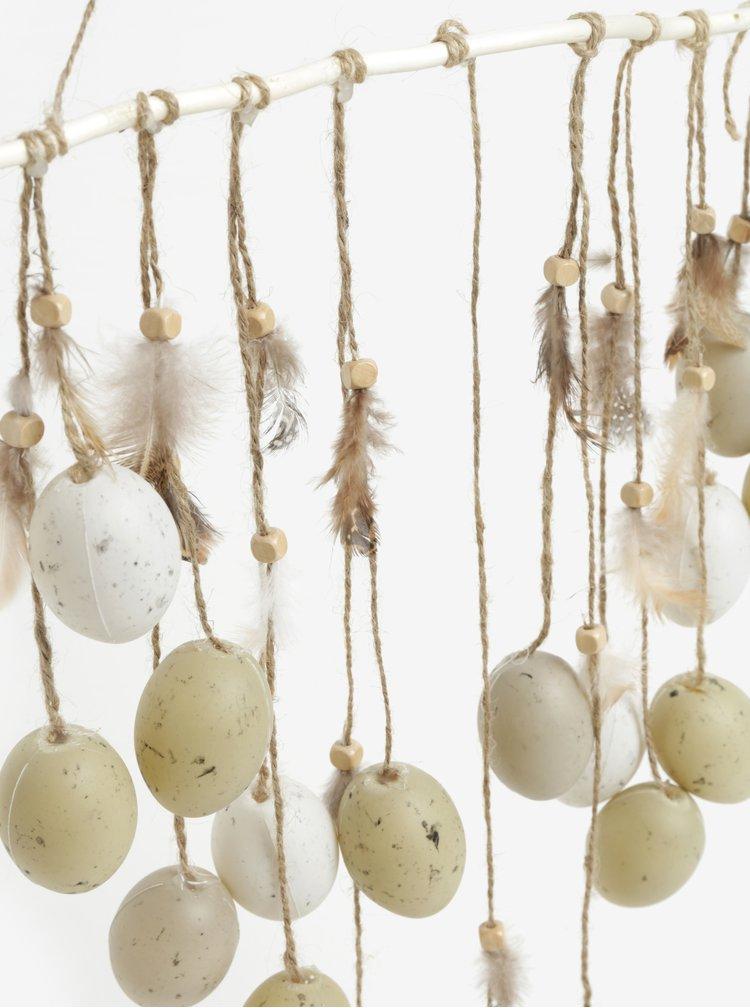 Závesná dekorácia s vajíčkami a pierkami v svetlozelenej farbe Kaemingk