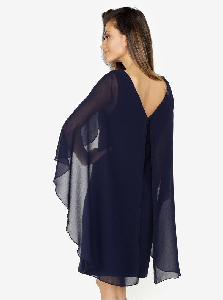 Tmavě modré šaty s volánovými rukávy VERO MODA Hannah