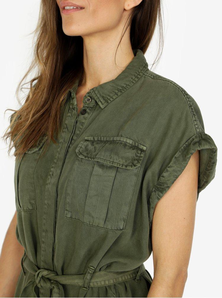 Khaki košilové šaty s kapsami VERO MODA Misty