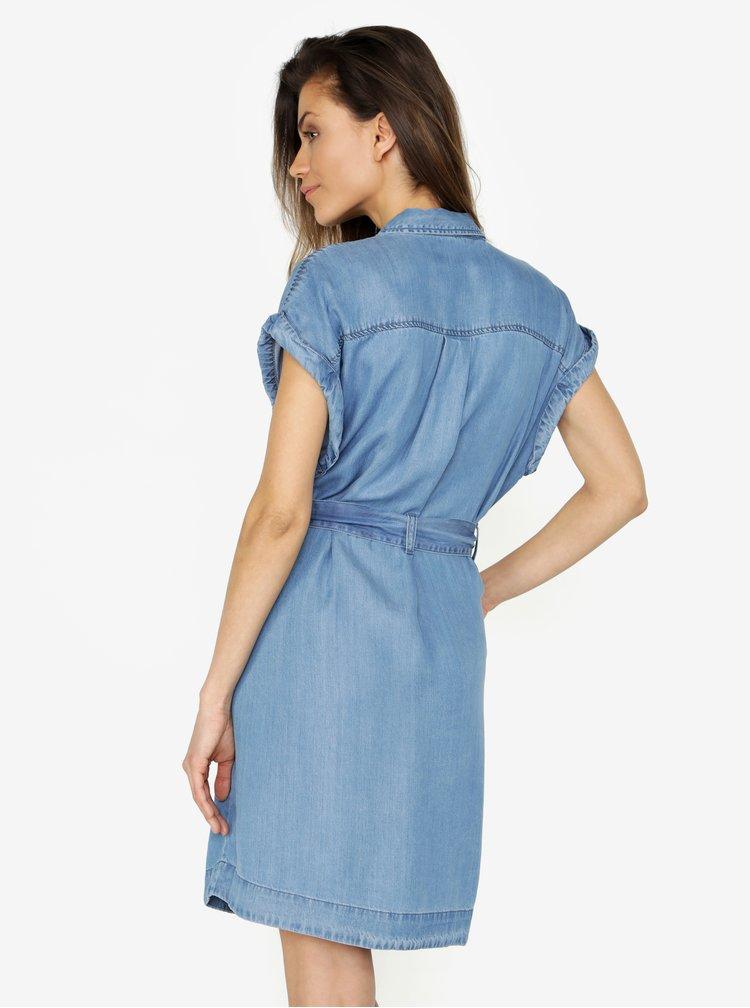 Modré košilové šaty s kapsami VERO MODA Misty
