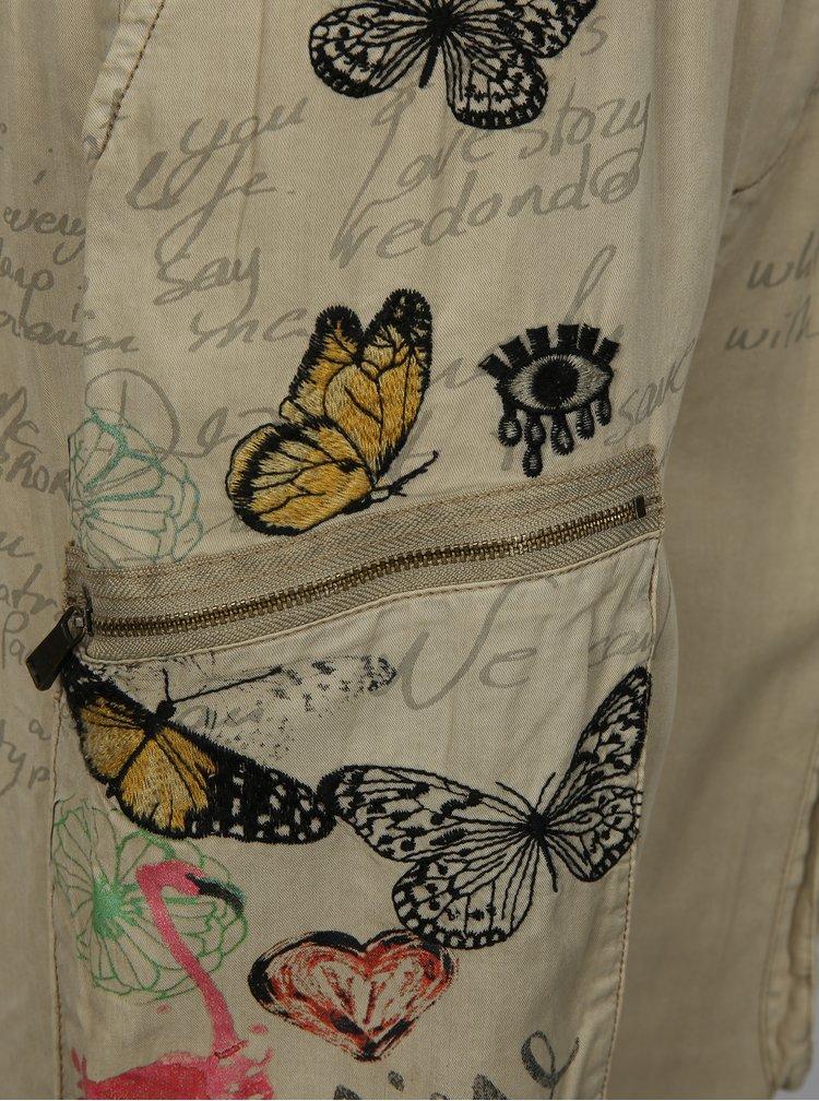 Béžové volné kalhoty s potiskem a výšivkou Desigual Eddy