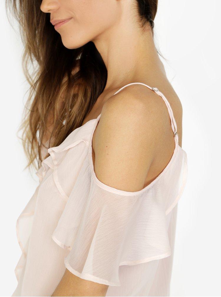 Světle růžová halenka s odhalenými rameny VERO MODA Kenzie