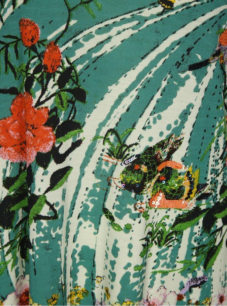 Rochie verde&crem cu print si paiete - Desigual Eleonor