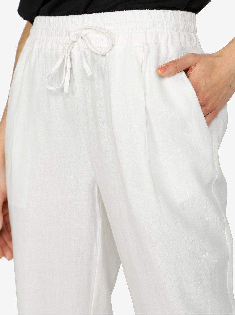Krémové lněné kalhoty s kapsami VERO MODA Masta Milo