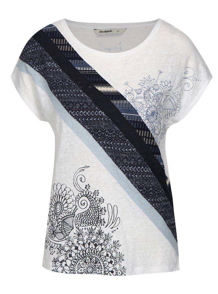 Modro-bílé  tričko s potiskem Desigual Bernice