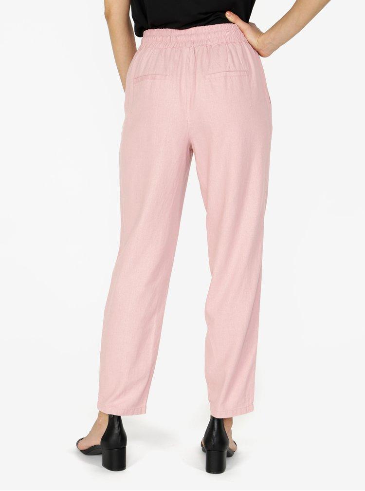 Růžové lněné kalhoty s kapsami VERO MODA Masta Milo