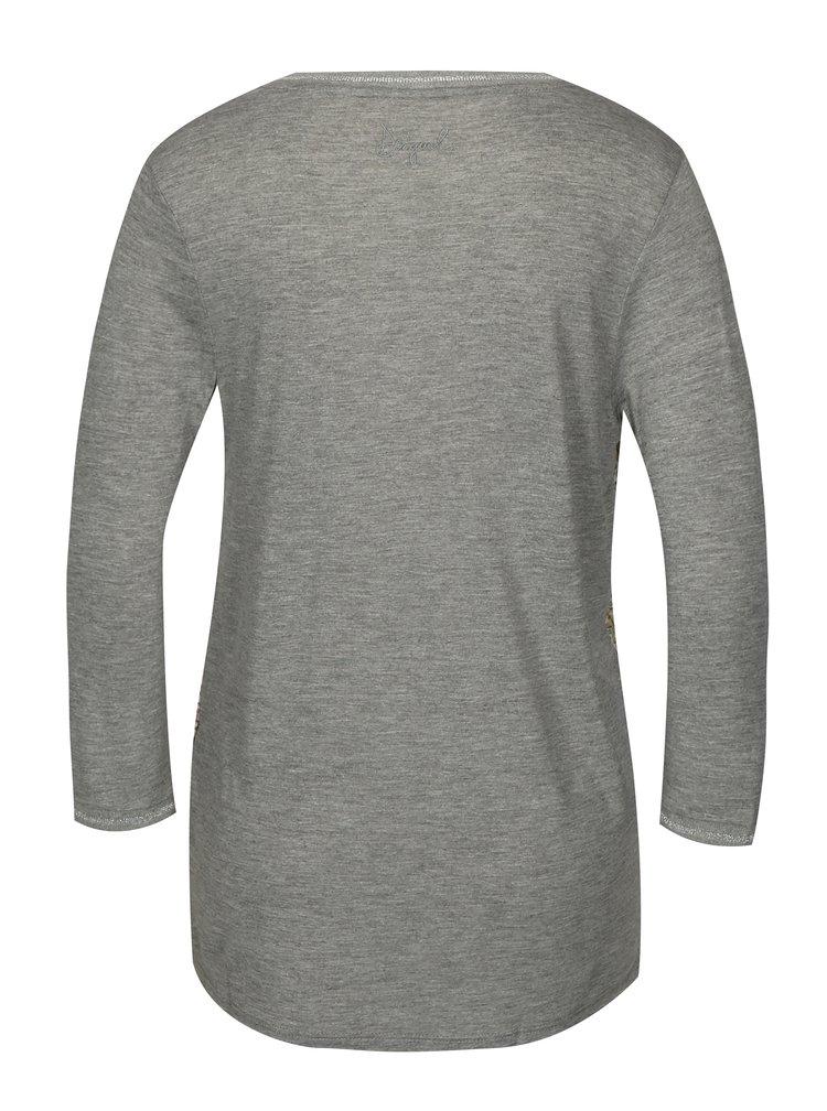 Šedé žíhané vzorované tričko s 3/4 rukávem Desigual Damon