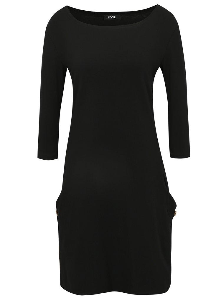 Rochie neagra cu buzunare cu nasturi decorativi - ZOOT