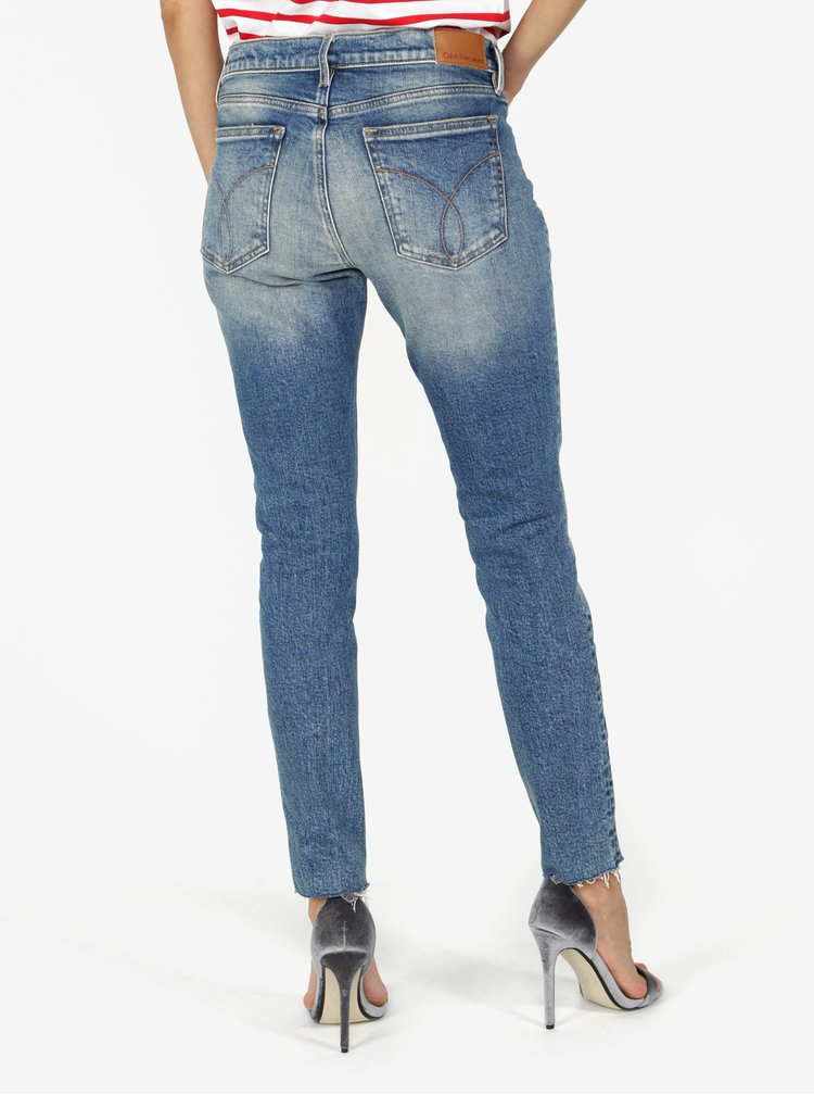 Modré dámské zkrácené skinny džíny s nízkým pasem Calvin Klein Jeans