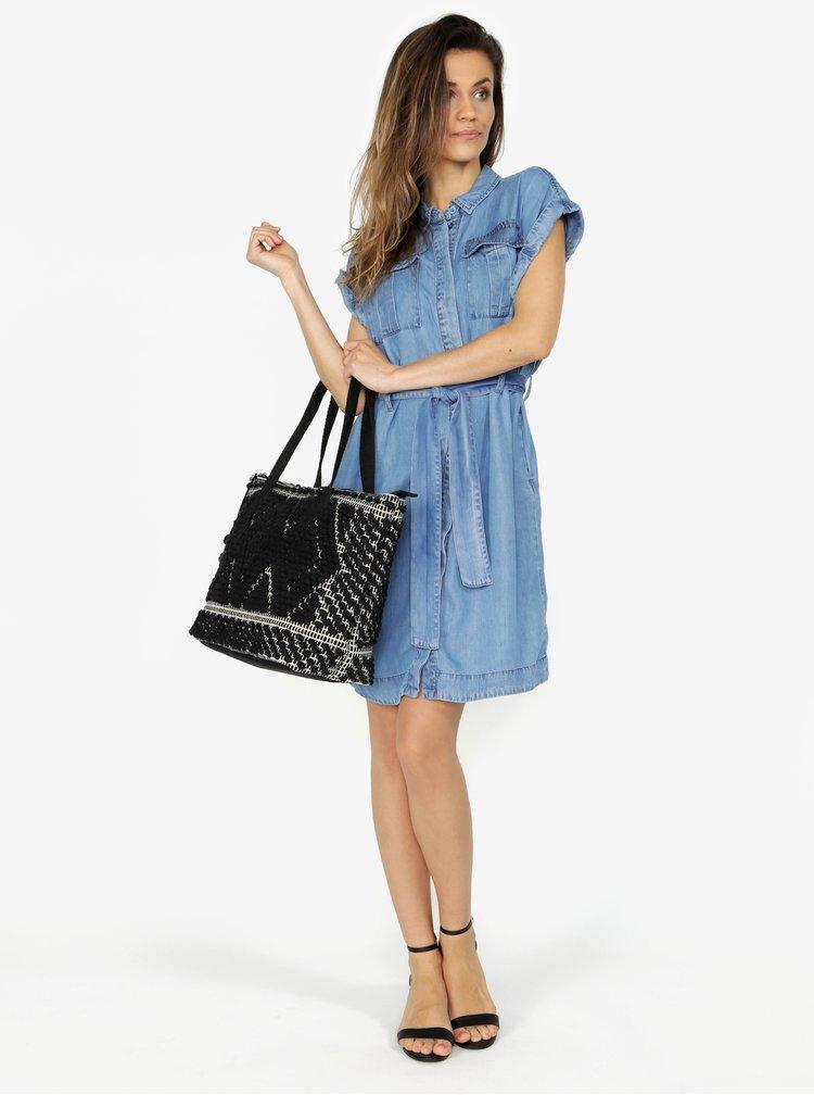 Černo-krémový prošívaný shopper Pieces Cillen