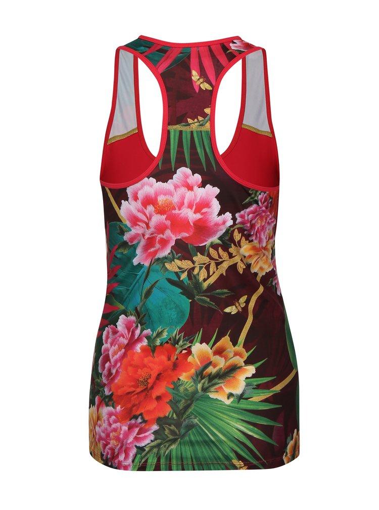 Růžové sportovní tílko s květovaným vzorem Desigual Sport