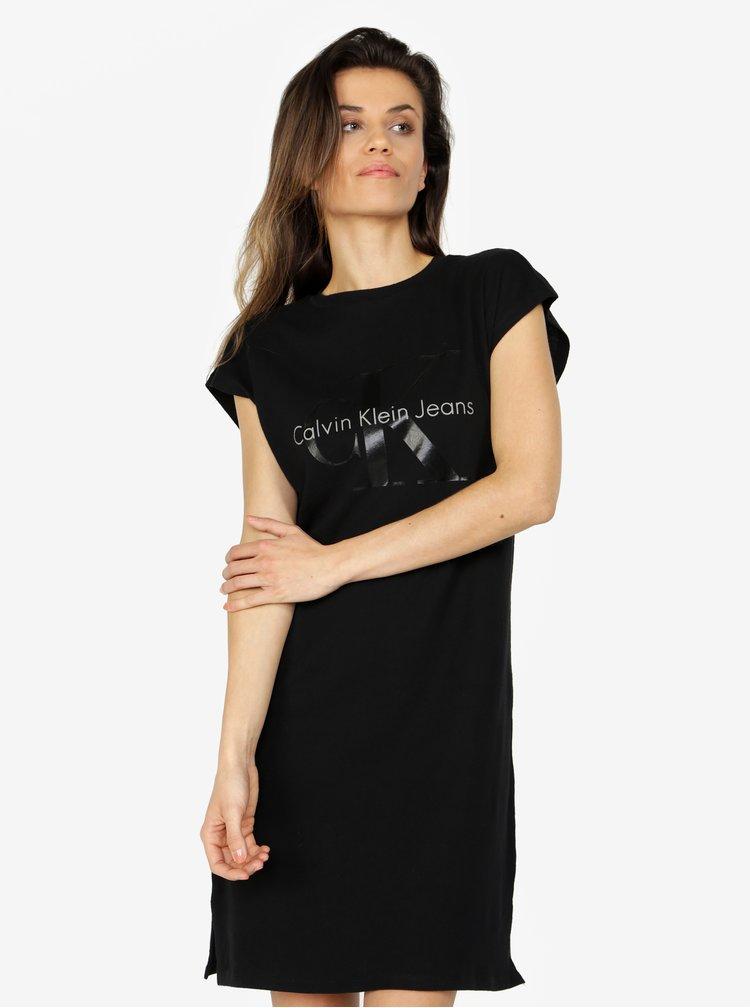 Černé šaty s potiskem Calvin Klein Jeans