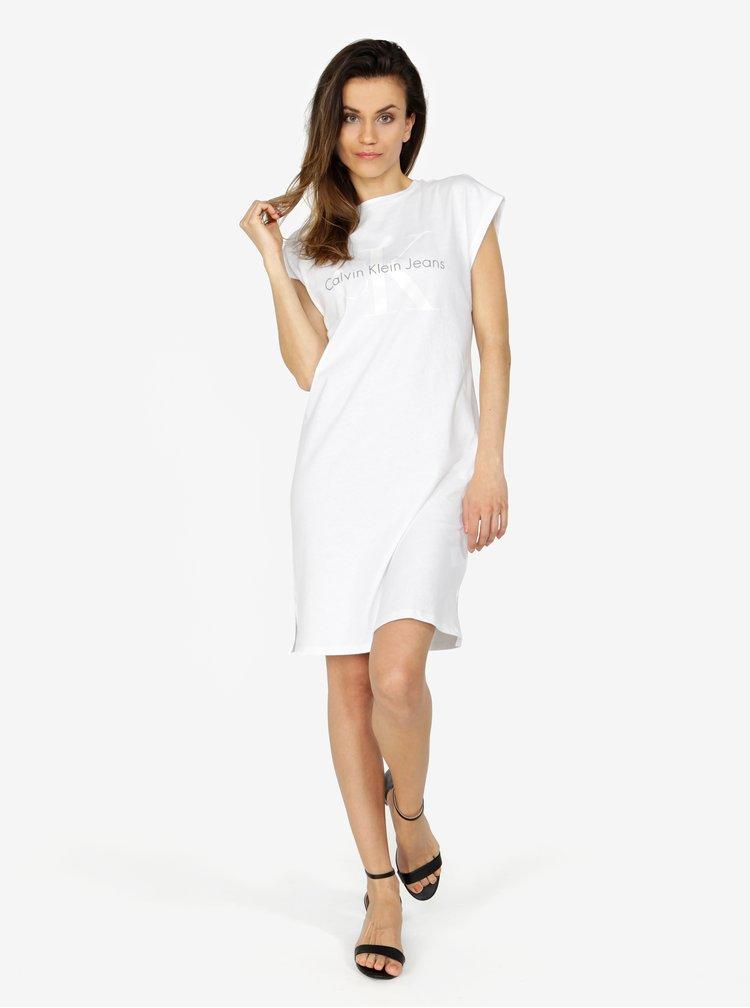 Bílé šaty s potiskem Calvin Klein Jeans
