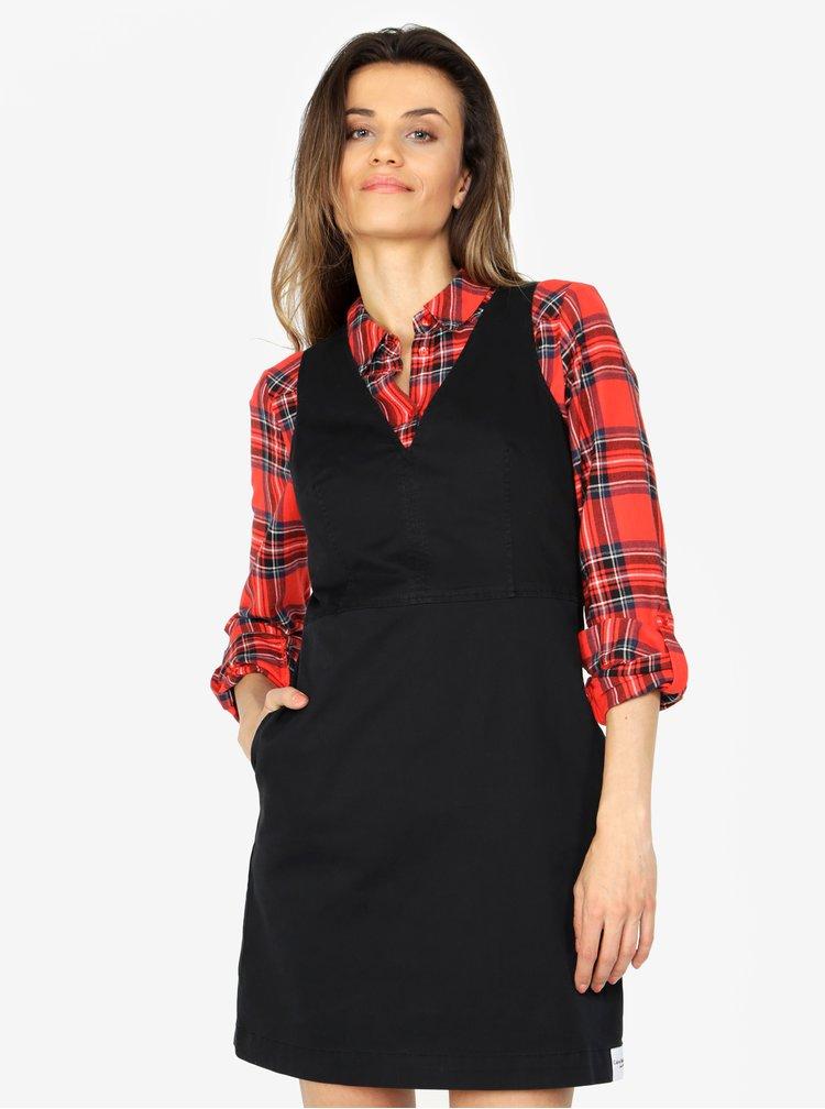 Černé minišaty s véčkovým výstřihem Calvin Klein Jeans