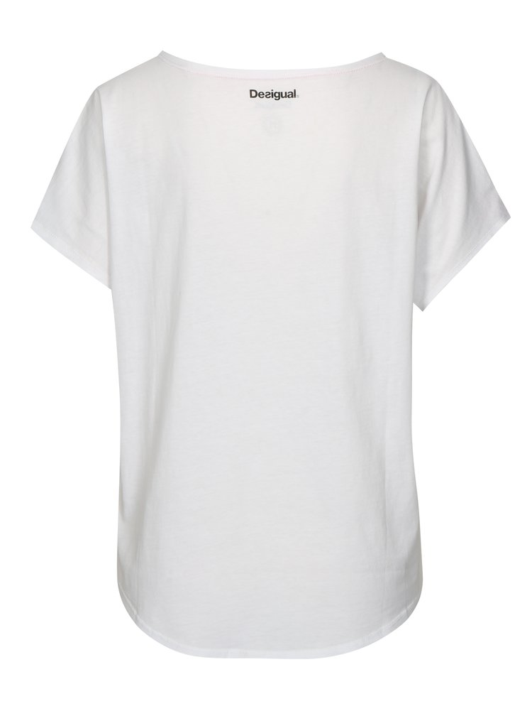 Biele tričko s kvetinovým vzorom Desigual Sport