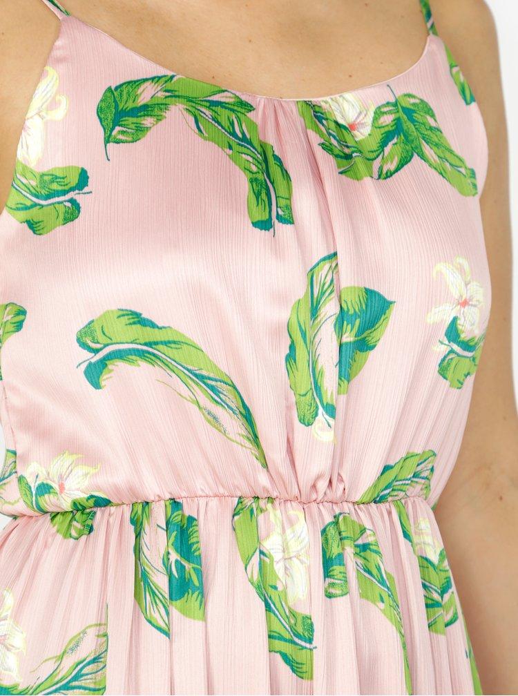 Rochie maxi roz cu print si volan la terminatie - VERO MODA Kate