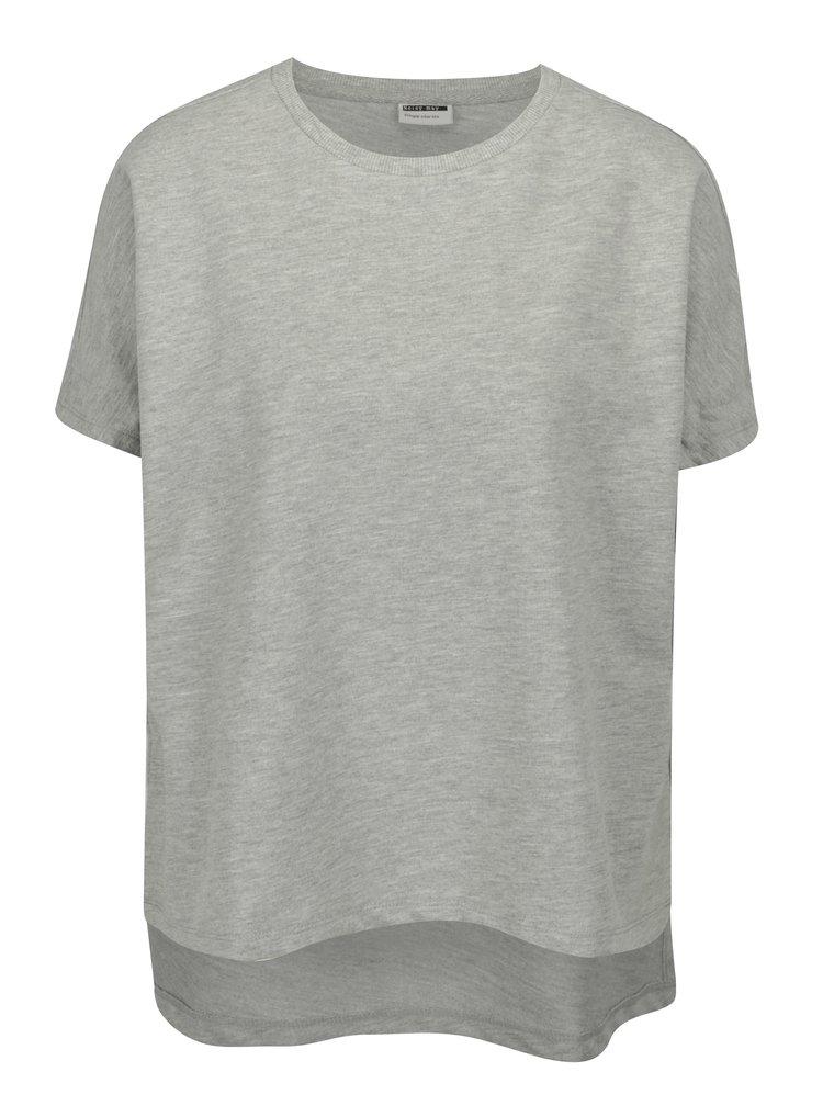 Sivé voľné melírované tričko Noisy May Sara