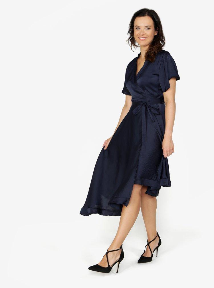 Tmavě modré asymetrické zavinovací šaty VERO MODA Alanna