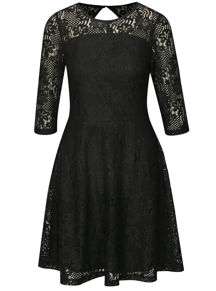 Černé krajkové šaty s 3/4 rukávem Dorothy Perkins