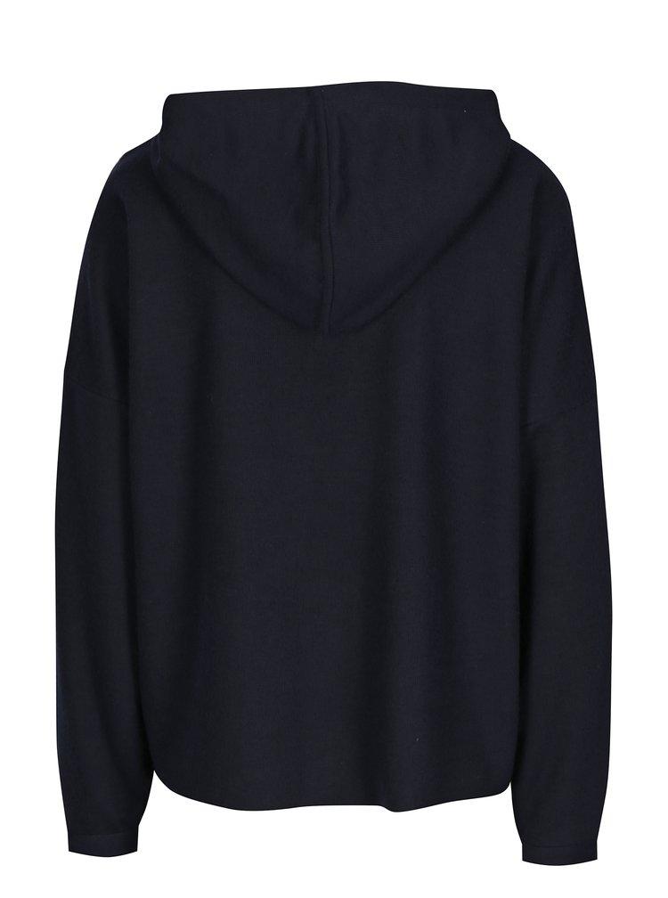 Tmavomodrý sveter s kapucňou ONLY Gia