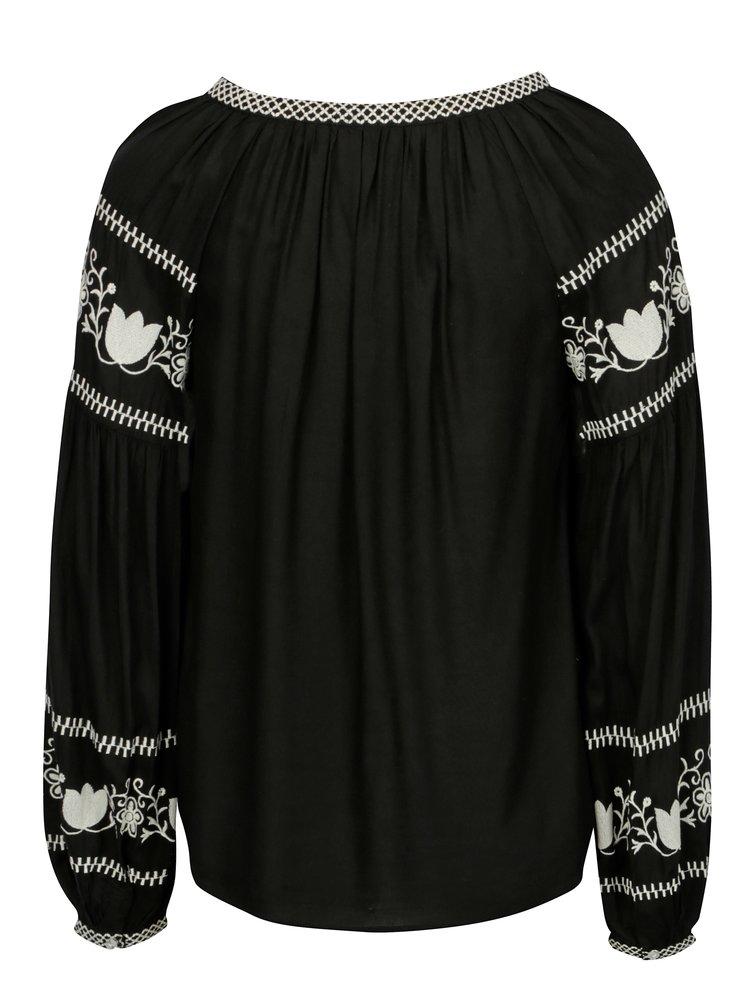 Černá halenka s vyšívaným vzorem Dorothy Perkins
