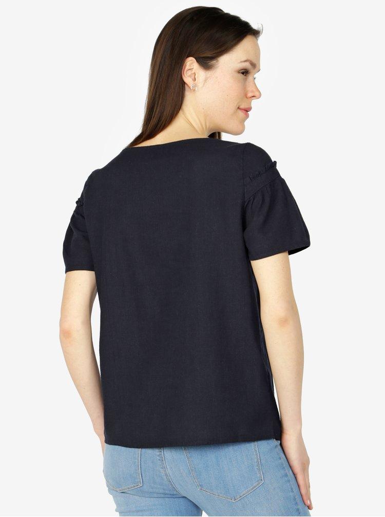 Tmavě modré lněné tričko VERO MODA Asta