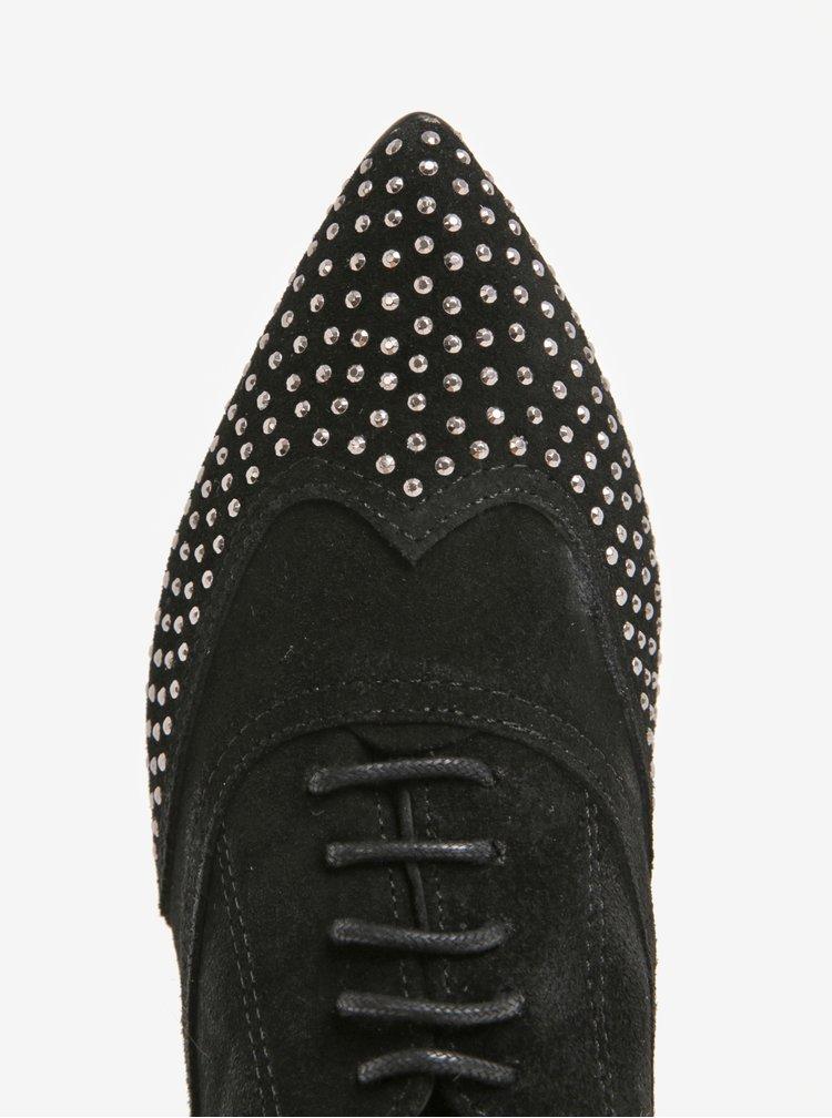 Černé dámské semišové polobotky s plastickými detaily OJJU